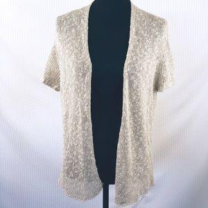 Ellen Fisher Tan Knit cardigan short sleeve size L